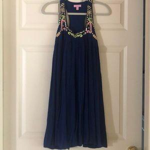 Lilly pulitzer navy beaded dress.